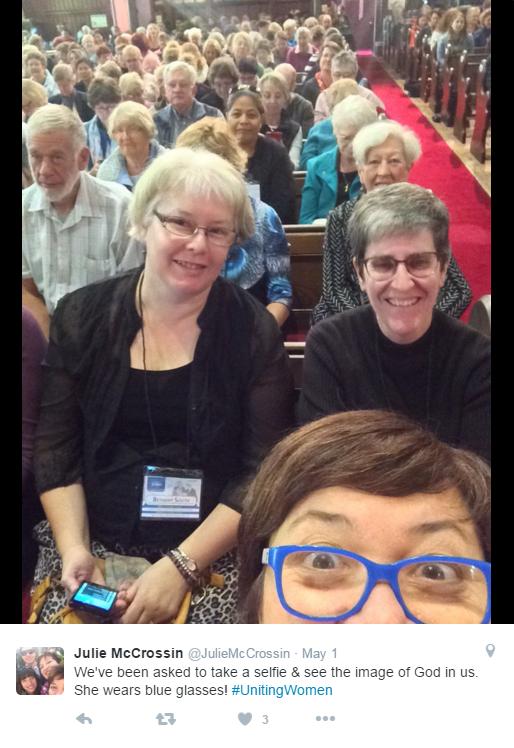 Julie McCrossin at UnitingWomen 2016 (from Julie McCrossin's Twitter page)
