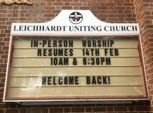 """""""Welcome back"""": Leichhardt resumes in-person worship"""